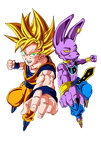 dragonball z   goku vs bills colour by triigun-d6i5288